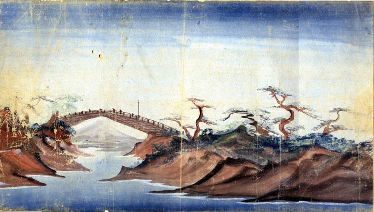 泥絵 「甲州猿橋之景」/