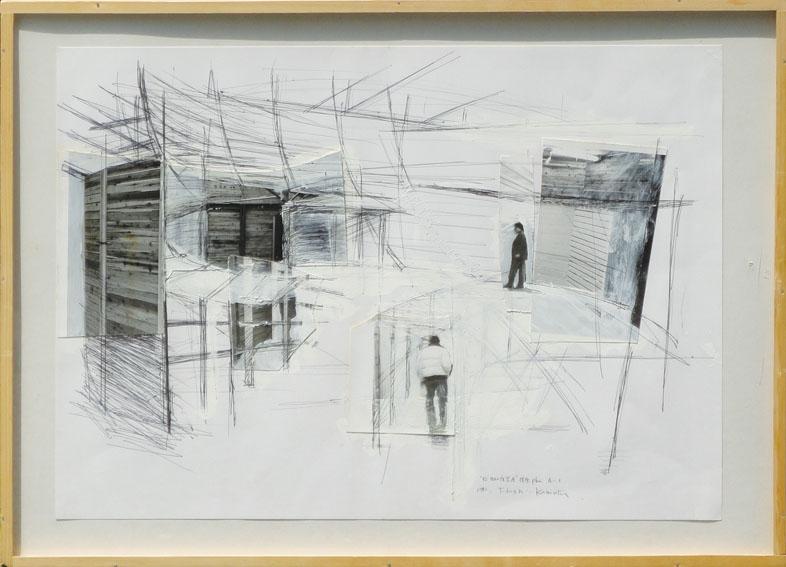 川俣正コラージュ額「今日の作家展 横浜 Plan A-2」/Tadashi Kawamata