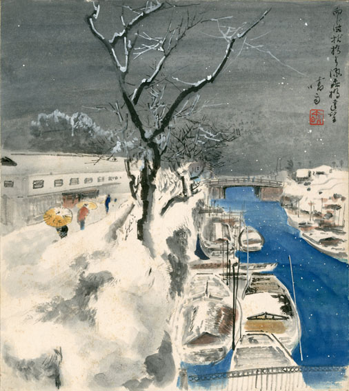伊藤晴雨色紙「枕橋より源森橋遠望」/