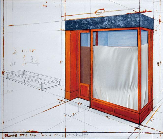クリスト版画額「Orange Store Front Project」/Christo