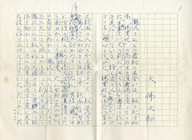 大仏次郎草稿 「滝沢修氏のこと(仮題)」/大仏次郎