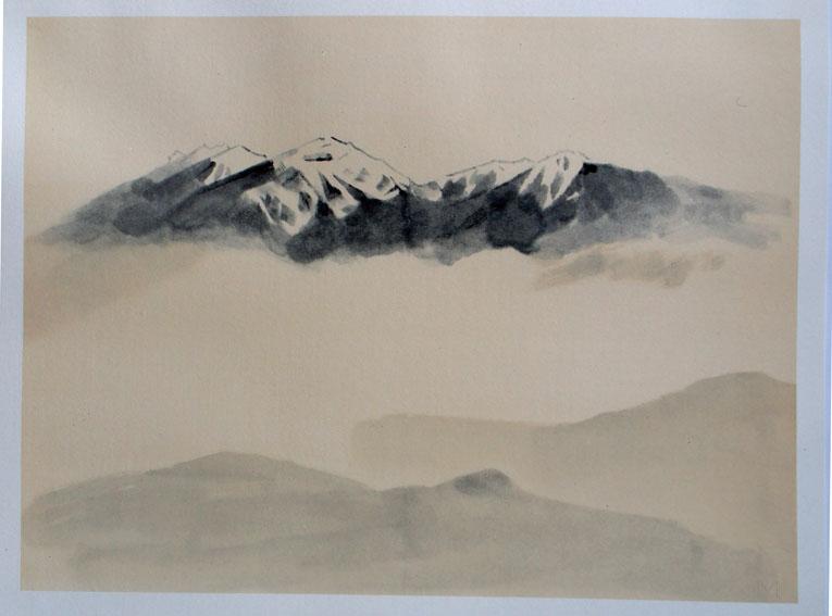 山口華楊版画「春雪」/