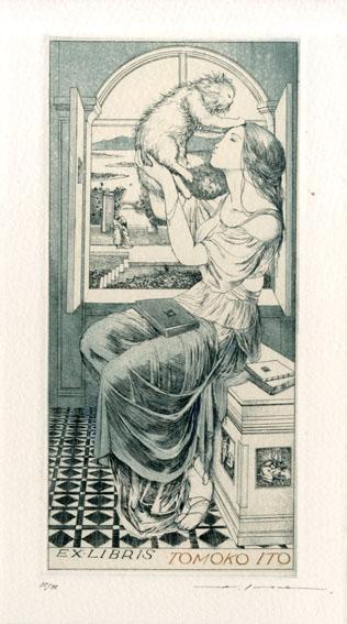 アルフォンス・イノウエ版画「蔵書票15」/Alphonse Inoue