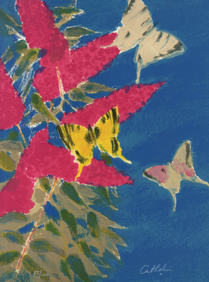 ベルナール・カトラン版画額「花と蝶(仮題)」/Bernard Cathelin
