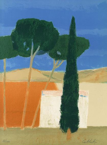 ベルナール・カトラン版画額「木のある庭(仮題)」/Bernard Cathelin