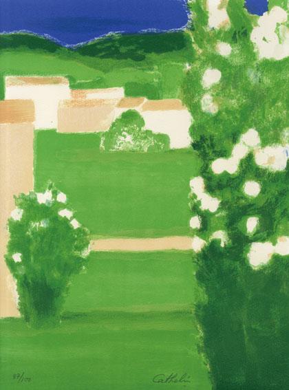 ベルナール・カトラン版画額「緑の庭(仮題)」/Bernard Cathelin