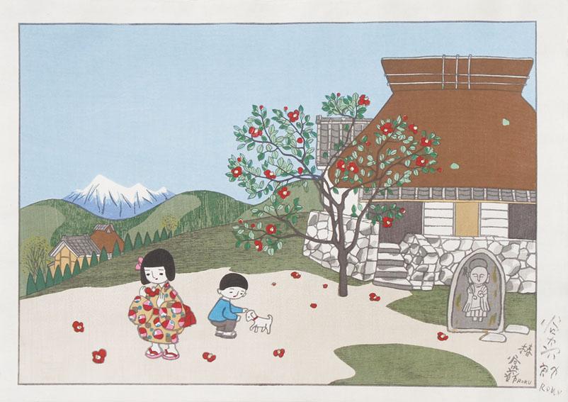 谷内六郎版画「椿」/Rokuro Taniuchi