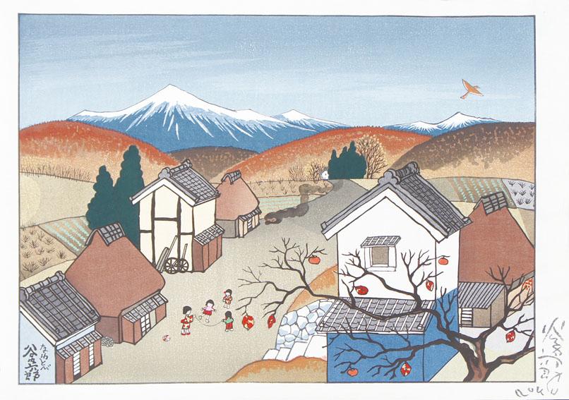 谷内六郎版画「なわとび」/Rokuro Taniuchi