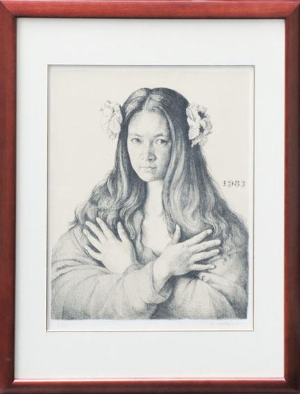 牧野邦夫版画額「女性像 1983」/Kunio Makino