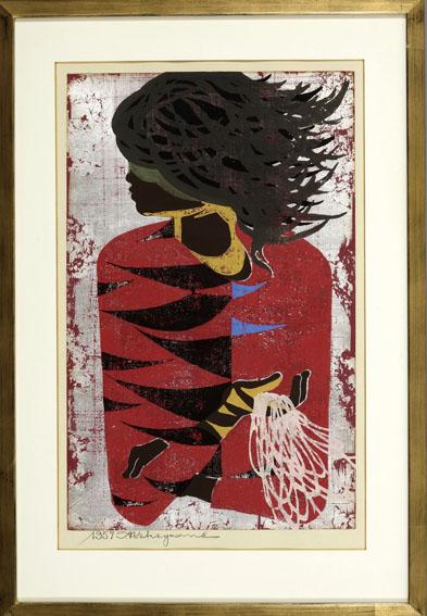 中山正版画額「赤い服」/Tadashi Nakayama