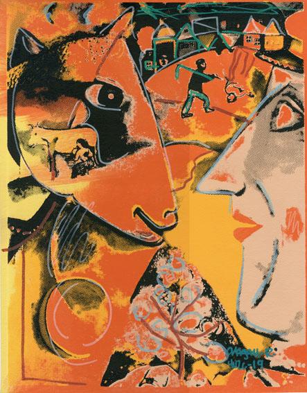 スティーブ・カウフマン版画額「Chagall-R-Yuzc-19」/Steve Kaufman
