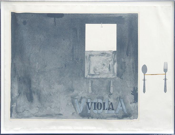 ジャスパー・ジョーンズ版画額「Viola」/Jasper Johns