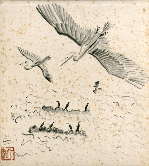 野間仁根色紙「鳥の図(仮題)」/