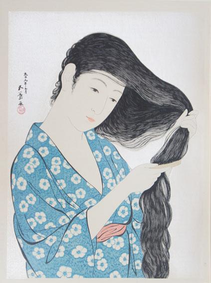橋口五葉版画「髪梳ける女」/Goyo Hashiguchi
