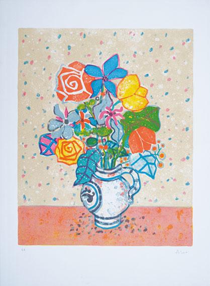 ポール・アイズピリ版画額「花瓶の花」/Paul Aizpiri