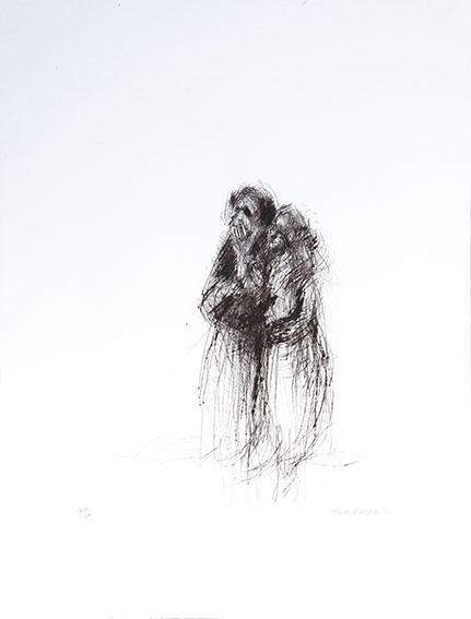 平野遼版画「ムーレイイドレスの少女」/Ryo Hirano