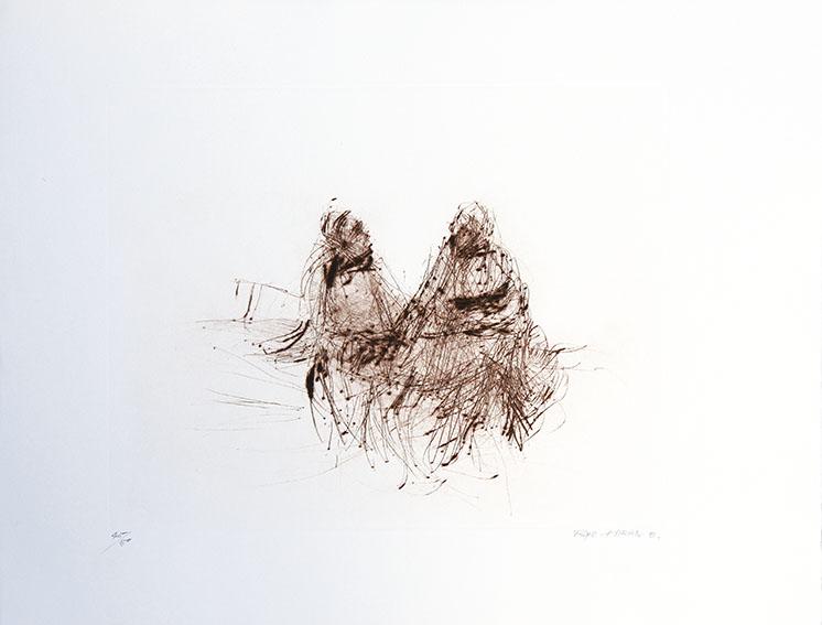 平野遼版画「城壁の前の男」/Ryo Hirano