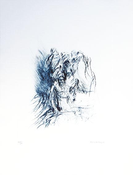 平野遼版画「野外の物売」/Ryo Hirano