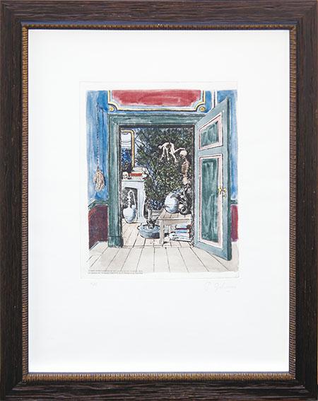 ポール・デルヴォー版画額「鏡の国 研究所 最後の麗しき日々」/Paul Delvaux