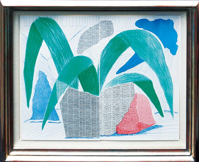 デイヴィッド・ホックニー版画額「緑灰色と青い植物、1986年7月」/David Hockney
