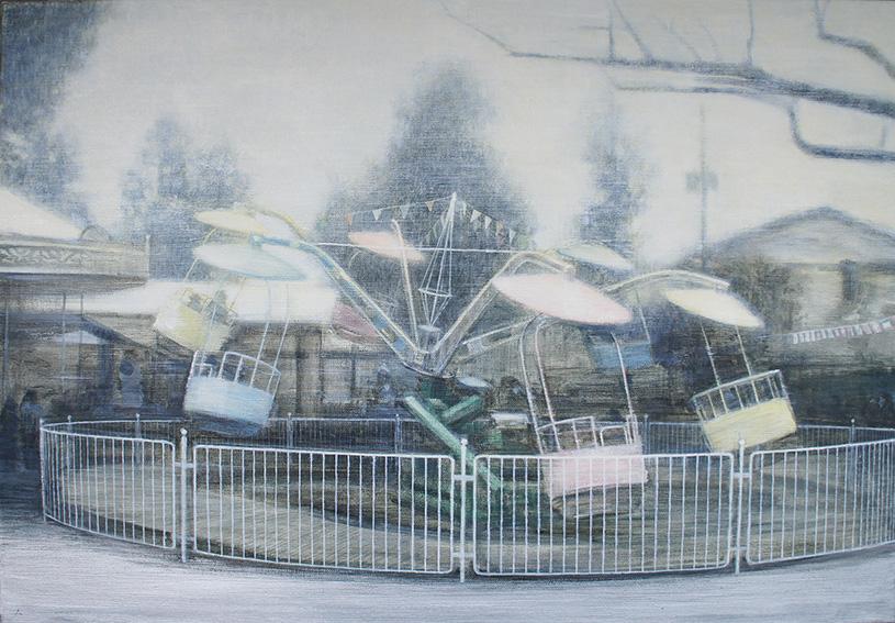 笛田亜希画額「文化園内遊園地」/Aki Fueda