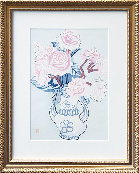 安井曽太郎版画額「薔薇」/Sotaro Yasui