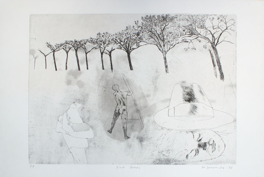 山本容子版画「Bird Bones」/Yoko Yamamoto