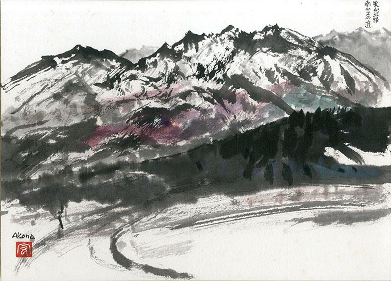 赤穴宏色紙「天心北路 南山之の道」/Hiroshi Akaana
