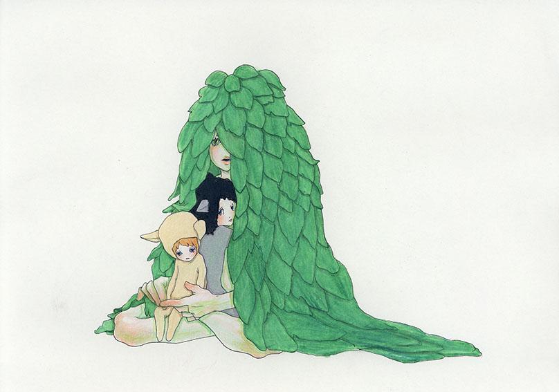 永島千裕ドローイング「森のこども」/Chihiro Nagashima