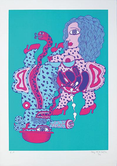 平賀敬版画「蛇と人」/Kei Hiraga