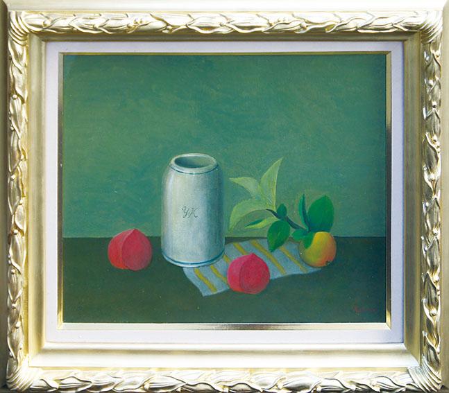 小杉小二郎画額「つぼと果物の静物」/Kojiro Kusugi