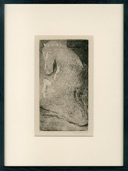 駒井哲郎版画額「闇のなかの黒い馬」/Tetsuro Komai