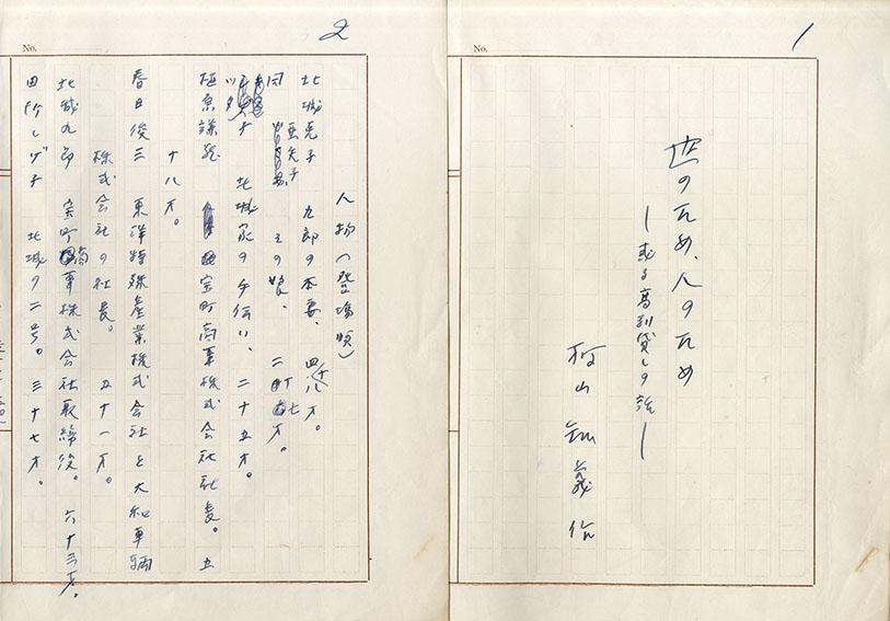 村山知義草稿「世のため、人のため(戯曲)」/Tomoyoshi Murayama