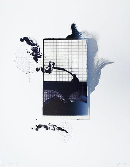 加納光於版画「稲妻捕り-1」/Mitsuo Kano