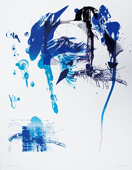 加納光於版画「稲妻捕り-2」/Mitsuo Kano