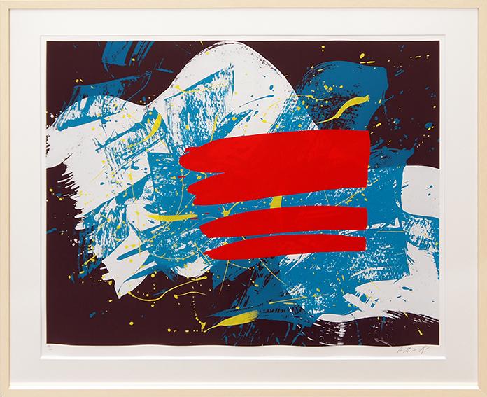 白髪一雄版画額「赤い旗」/Kazuo Shiraga