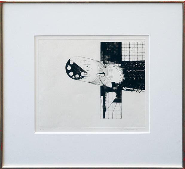 若林奮版画額「地方における小気象No.6(振動尺・水滴)」/Isamu Wakabayashi