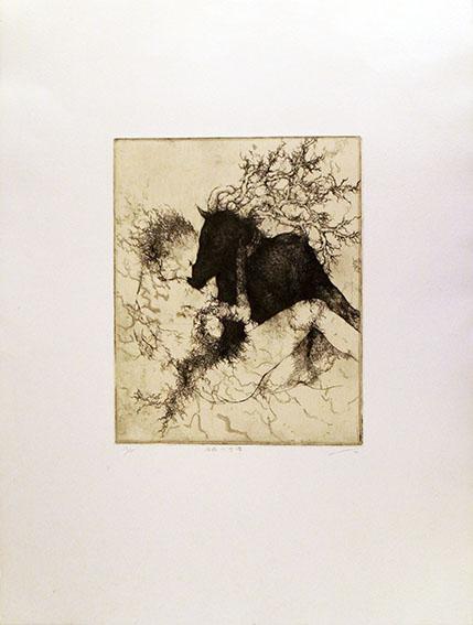 箕輪千絵子版画「存在の言葉」/Chieko Minowa