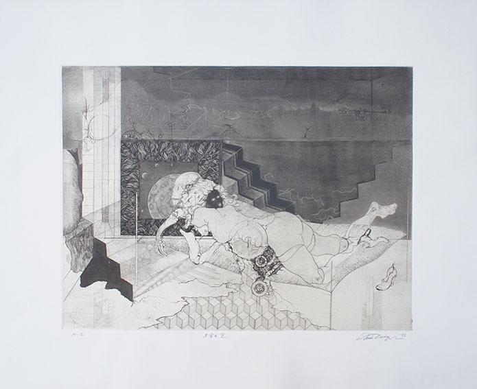 多賀新版画「不安な室」/Shin Taga