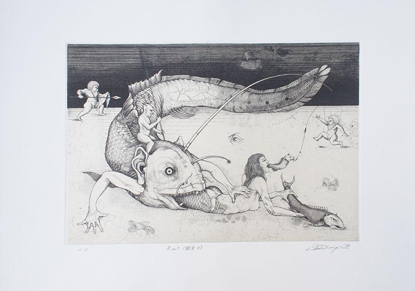 多賀新版画「魚No.8(餌食Ⅱ)」/Shin Taga