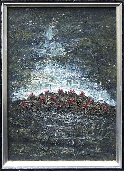 藤山ハン画額「夜・水辺風景」/Han Fujiyama