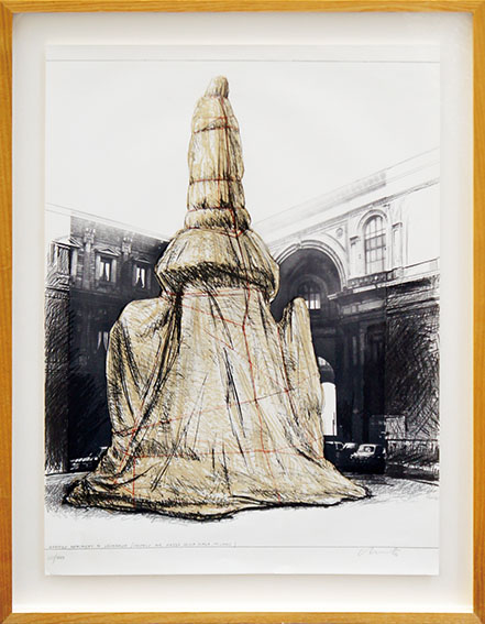 クリスト版画額「Wrapped Sylvette, Project for Washington Square Village, New York, from: Hommage à Picasso」/Christo