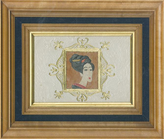 川上澄生画額「日本婦人之図」/Sumio Kawakami