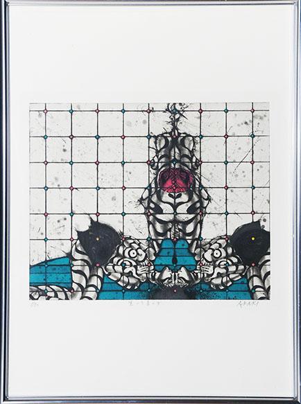 荒木哲夫版画額「黒い下着の女」/Tetsuo Araki