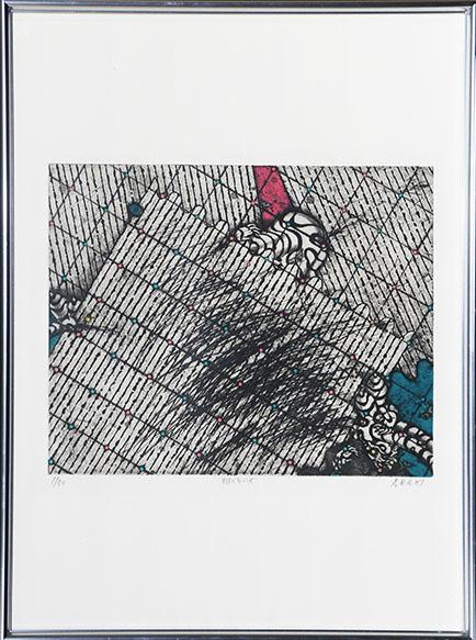 荒木哲夫版画額「翔べない女」/Tetsuo Araki
