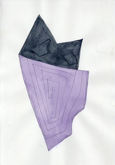 杢田たけを画「黒と紫 87 S-1」/Takeo Mokuta