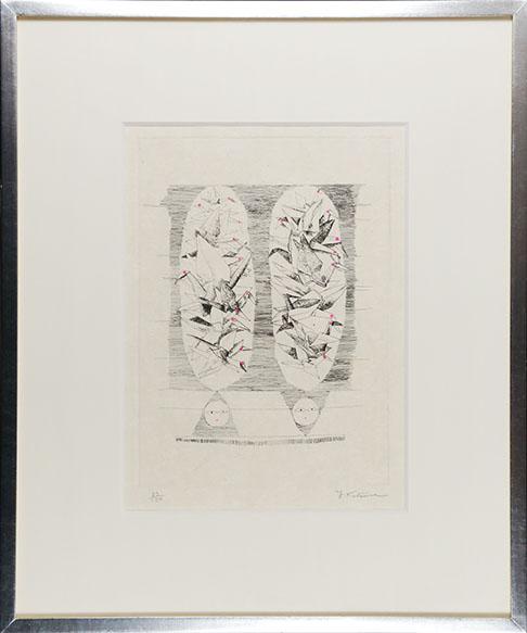 桂ゆき版画額「千羽鶴」/Yuki Katura
