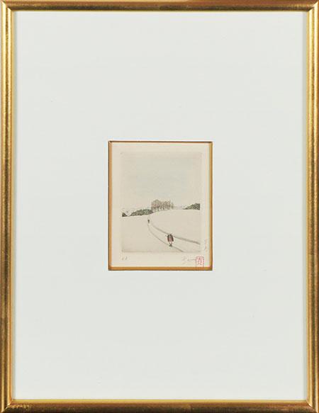 斎藤真一版画額「早春」/Shinichi Saito