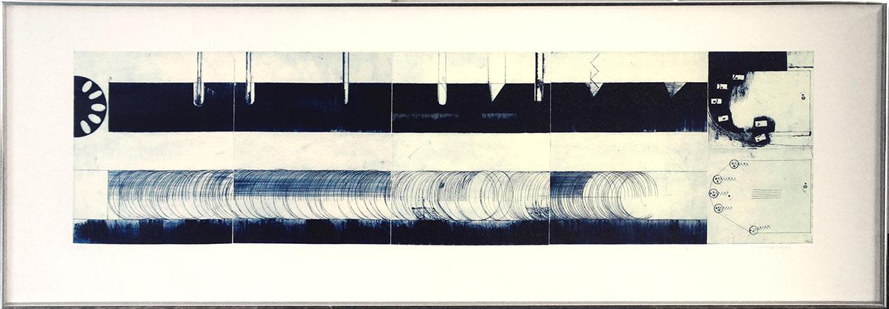 若林奮銅版画額「鮭の振動尺 Ⅱ-B」/Isamu Wakabayashi