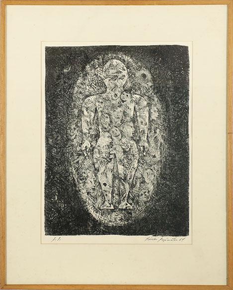 藤松博版画額「楕円の中の人」/Hiroshi Fujimatsu